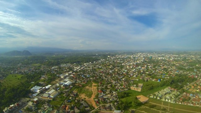 The City of Chiang Rai looking north east. Thailand