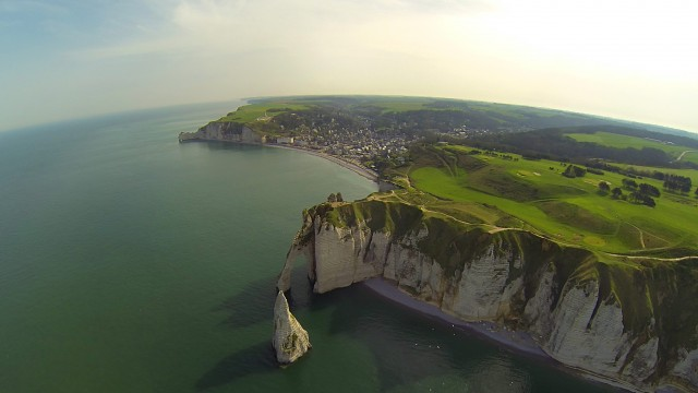 Sea cliffs of Etretat (France) with a bird's eye view #1