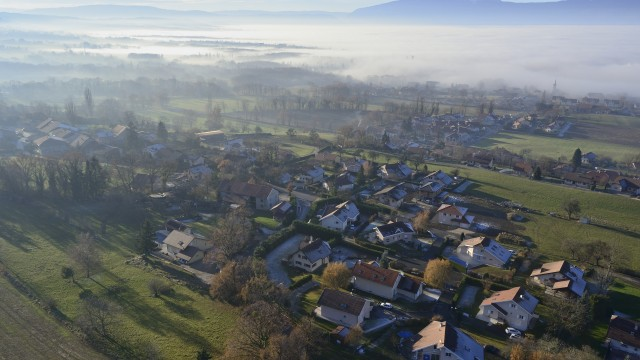 Neydens, Haute Savoye, France – shot by a professional octocopter of highflycam.com