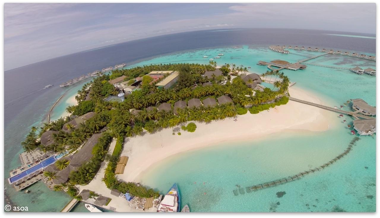Aerial View of Centara Grand Island Resort Maldives