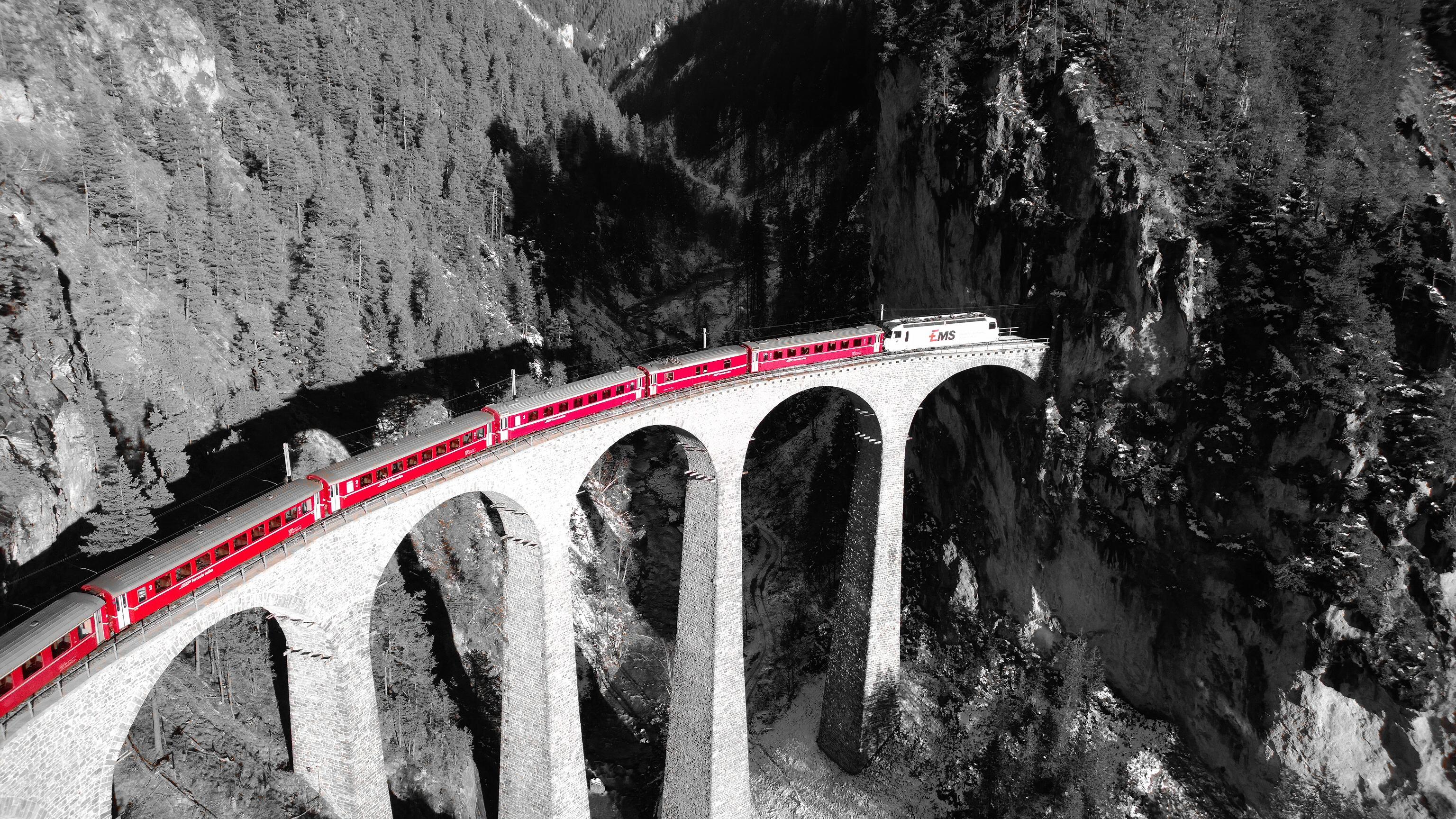 Landwasser Viadukt close to Filisur in Switzerland