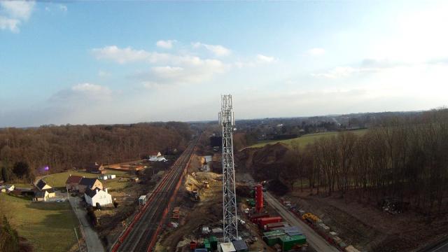 RER train construction area, limal, belgium