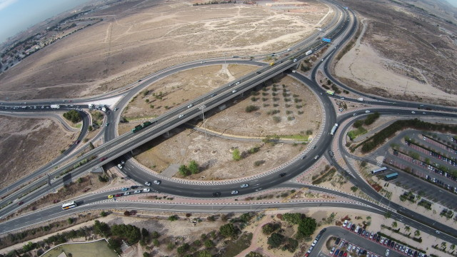 A7 motorway roundabout at University of Alicante, Spain