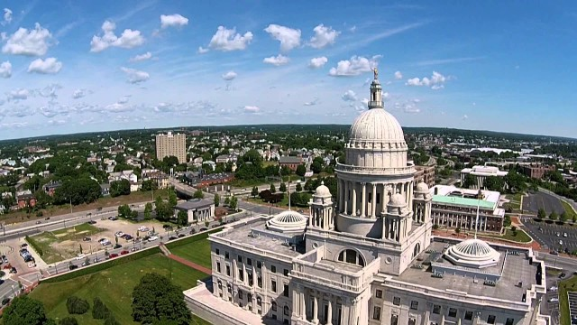 Providence RI Statehouse USA Drone flys over Worlds 4th largest self-supported dome
