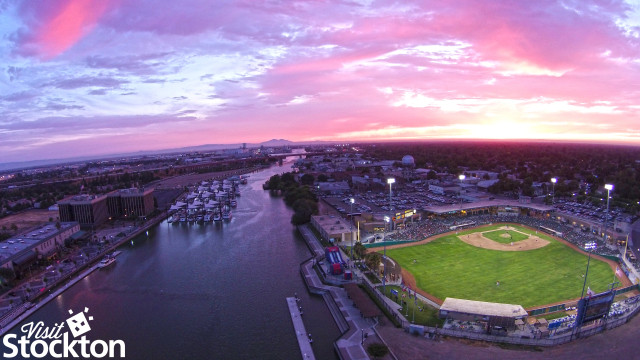 "Stockton, California ""Banner Island Ballpark"" and Stockton Marina"