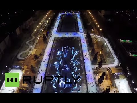 RUSSIA : The world's biggest ice rink by DRONE