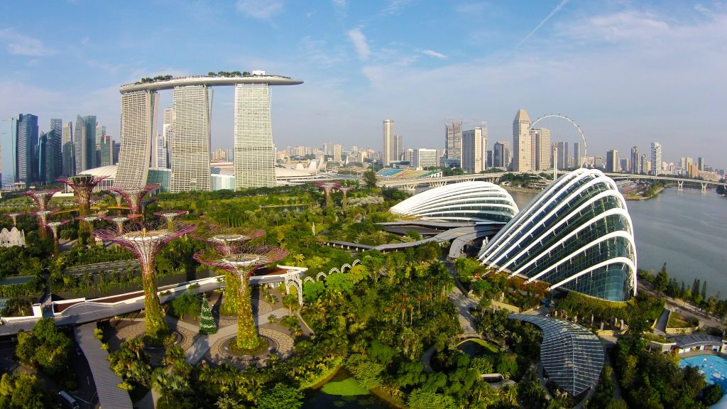 Gardens By The Bay And Marina Bay Sands Dronestagram