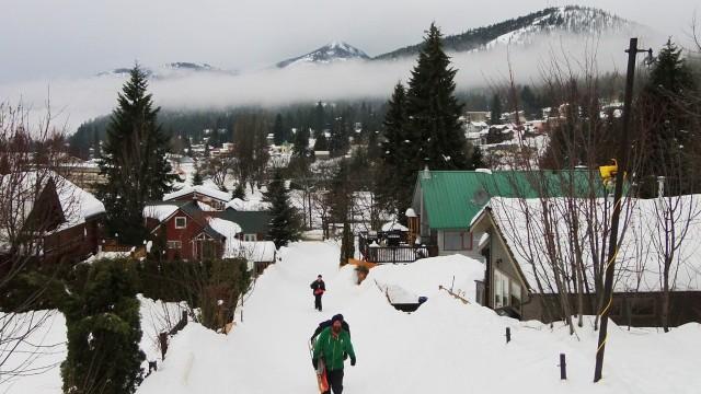 Snow-Skating, Rossland, British Columbia, Canada
