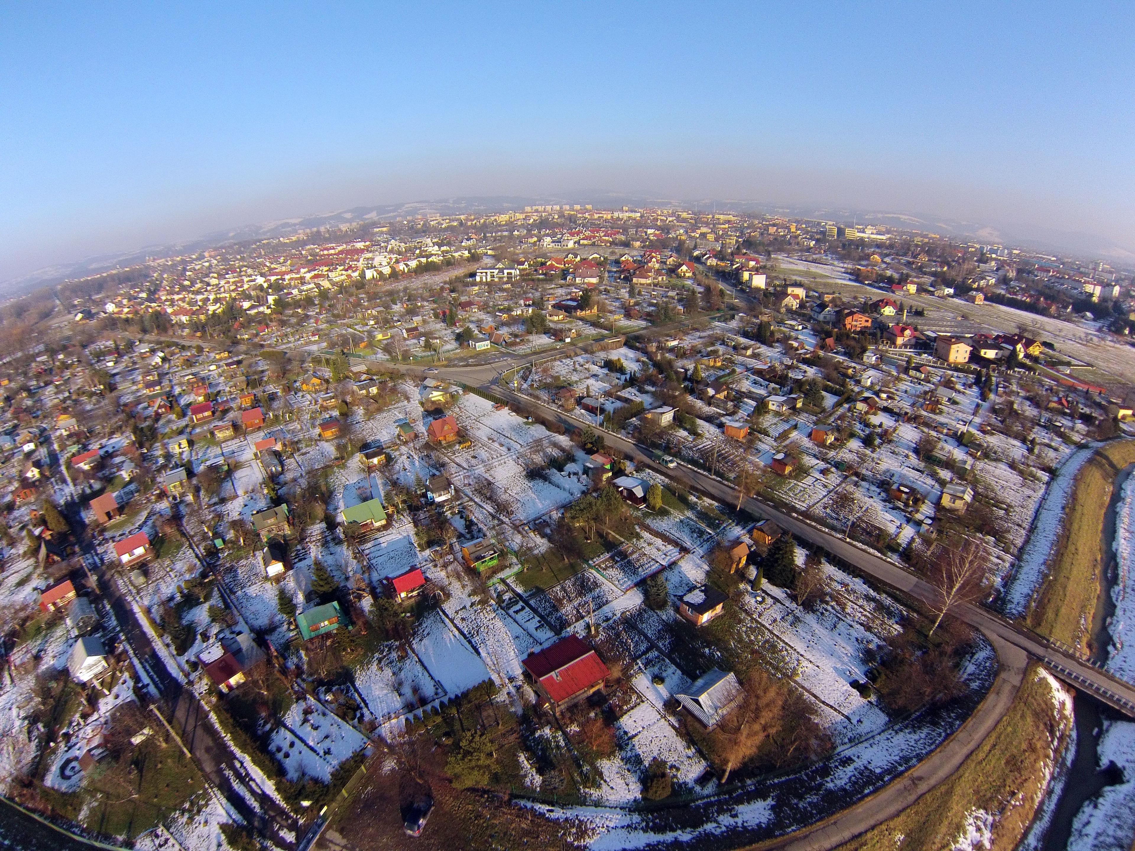 Nowy Sącz (Wólki) z lotu ptaka zima