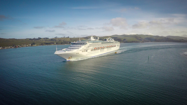 Sea Princess leaving Dunedin, Otago Peninsula, New Zealand