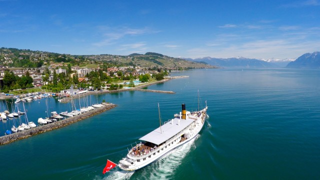 "Léman lake and Belle Epoque boat ""La Suisse"", Pully, Vaud, Switzerland"
