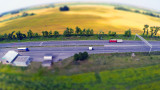 tilt-shift, road Kyiv-Kharkiv