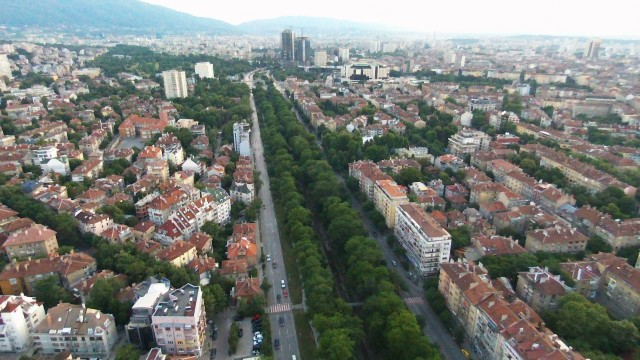 Flying above one of the rivers running through Sofia, Bulgaria
