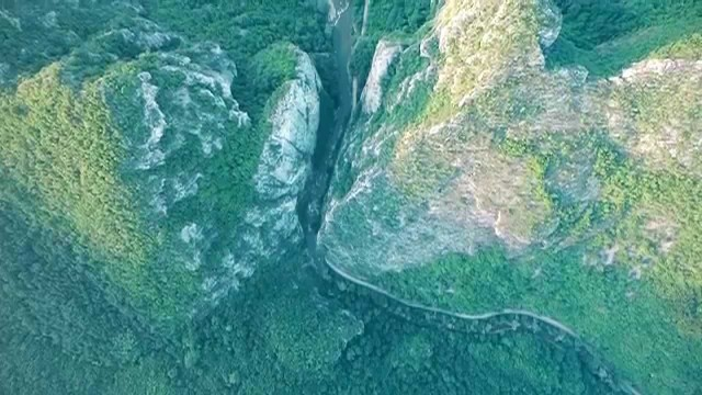 Flying above a majestic canyon of Erma river, eastern Serbia