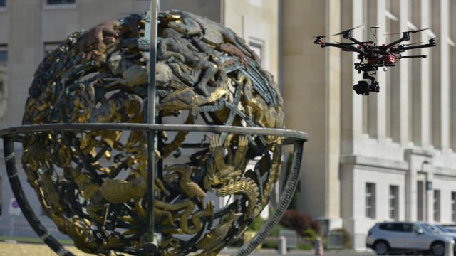 Drone en tournage au Palais des Nations Unies, Genève