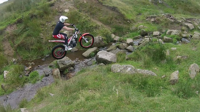 Ross Crosby practicing in the river at Trawden