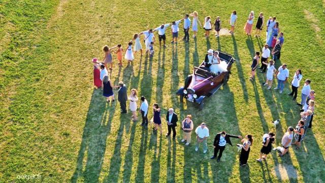 Logo humain par drone, photo vidéo de mariage, Hautes-Alpes, France