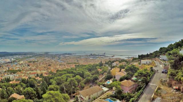 Panorama depuis les hauteurs de Sète, photo par drone