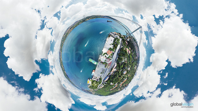 Aerial Little Planet of Bosphorus, Istanbul