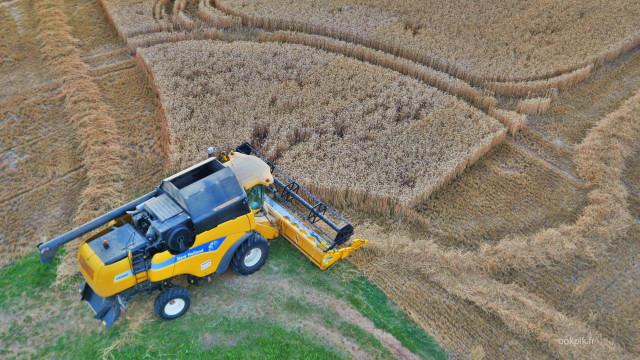 Prises de vues aeriennes par drone, New Holland, Alsace, France