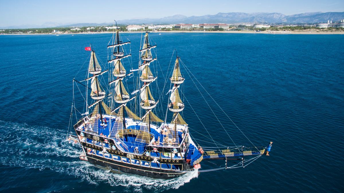Pirate ship, Side, Beach, Club Aldiana, Turkey