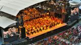 Festival de musique, photo par drone, Rhone Alpes, France
