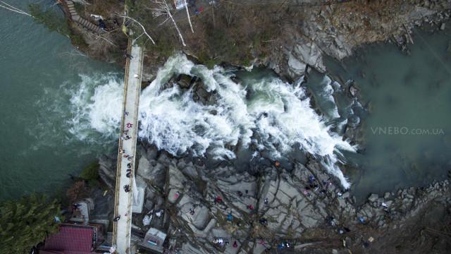 Waterfall in Yaremche Carpathians, Ukraine