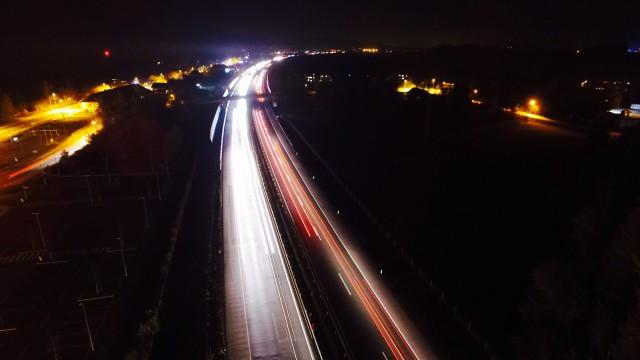 Slovenia Highway shot at night