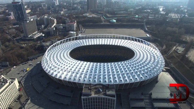 Droneman on NSC Olimpiyskiy in Kyiv, Ukraine