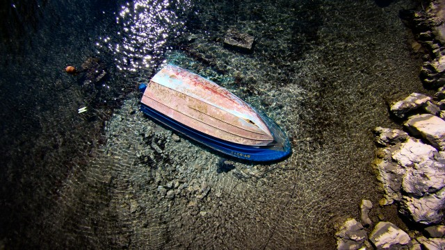 Sunken Boat in shallow sea, Island Ciovo, Croatia