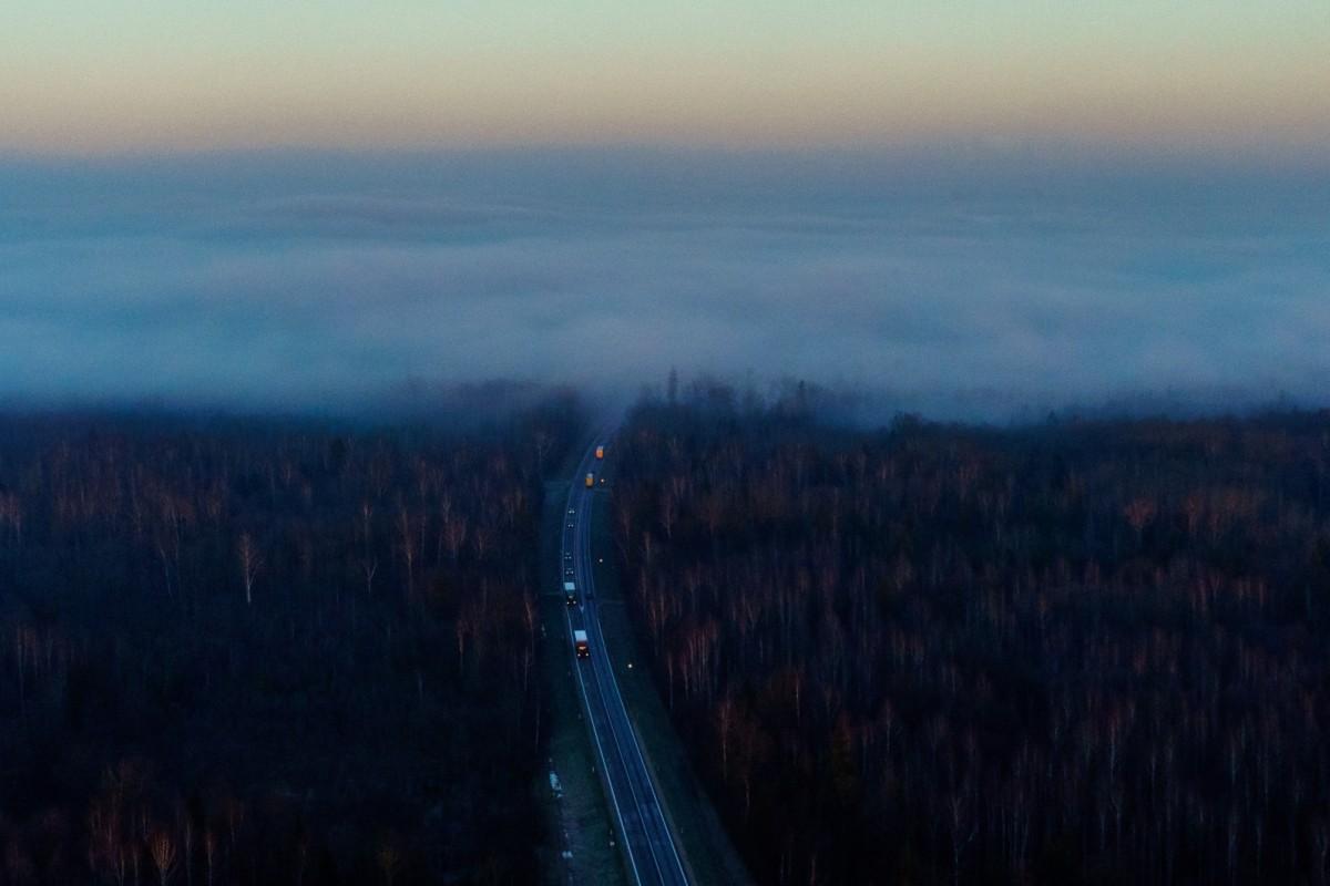 Fog, Via Baltica road, Lithuania