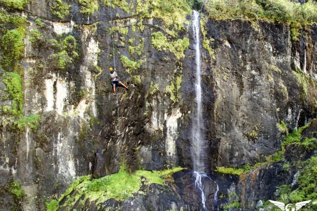 Climbing a waterfall, Cilaos