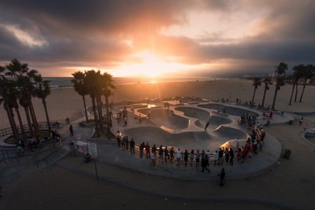 Sunset on the skateboard park