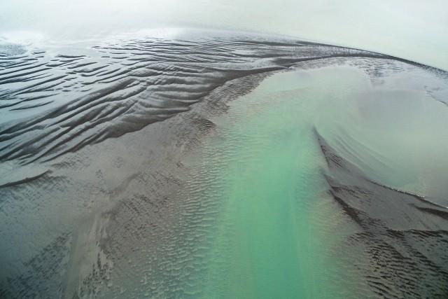 Sandbars in a fjord. Iceland