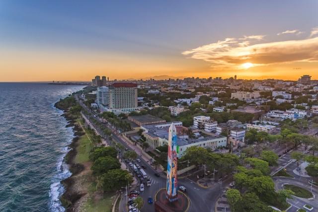 Sunset over Obelisco Macho in Santo Domingo, Dominican Republic