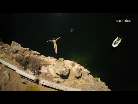 ''Cliff diving'' in the lake of Agios Nikolaos