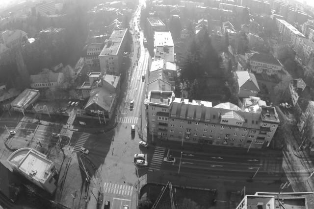 BLACK WHITE CROSSROAD ZILINA CITY SLOVAKIA