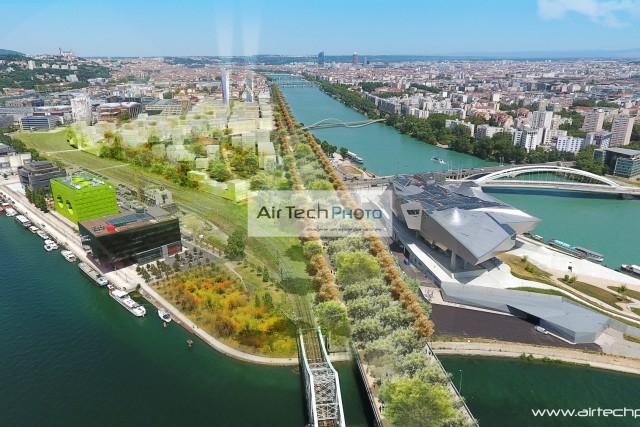 Photographie aérienne drone Confluence à Lyon, France