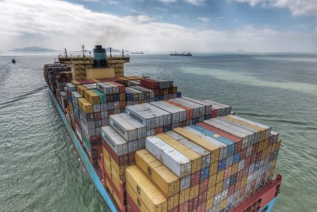 Cargo Ship passing by Hong Kong near Tai O