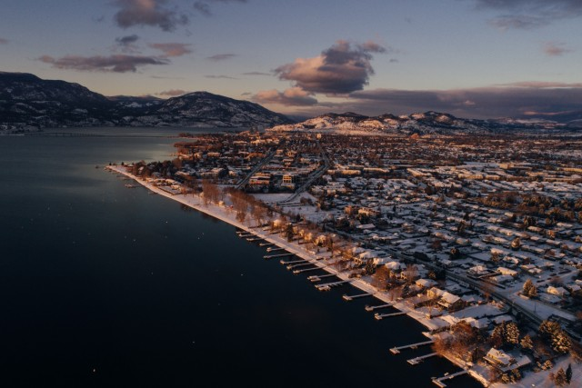 Kelowna, BC, Canada in the snow.