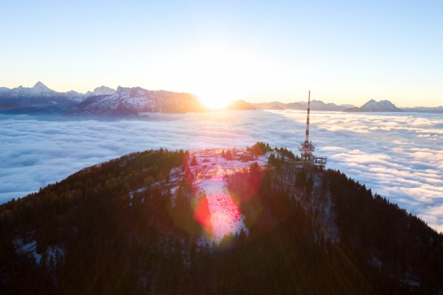 Sunset over the fog at the Gaisberg