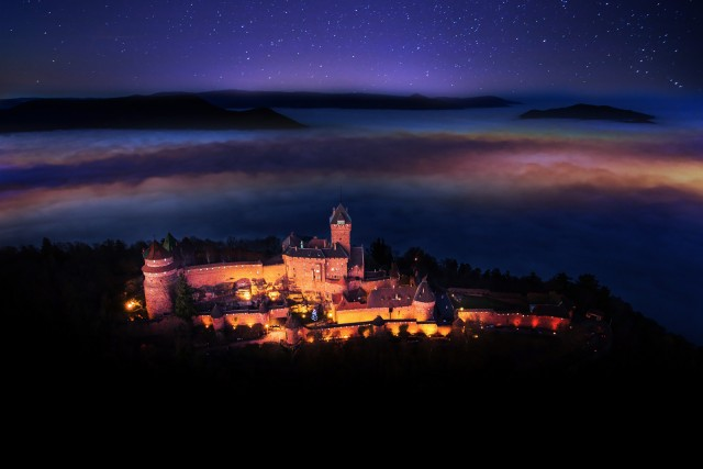 Haut-Koenigsbourg Castle by night