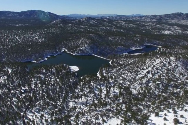 Goldwater Lake Prescott AZ after it had snowed.
