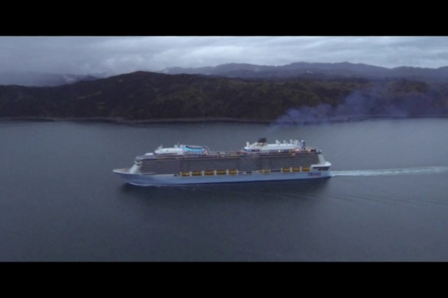 Ovation of the Seas entering Wellington Harbour at Breaker Bay, New Zealand