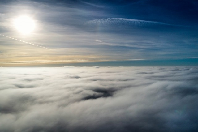 Above the clouds following the sun.