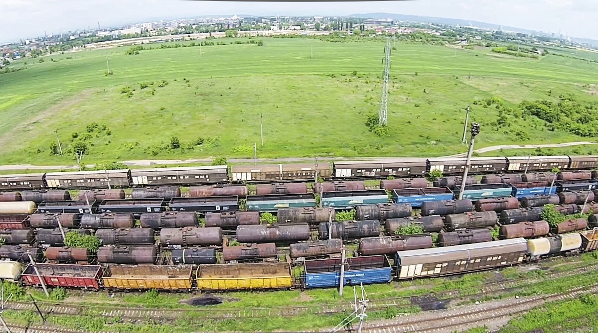 Colored freight train cars