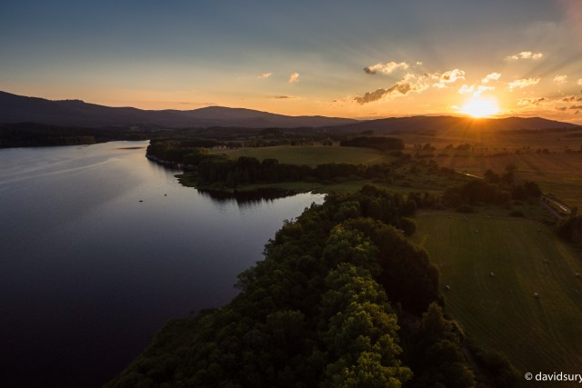 Sunset over the lake Lipno [Sumava, CZ]