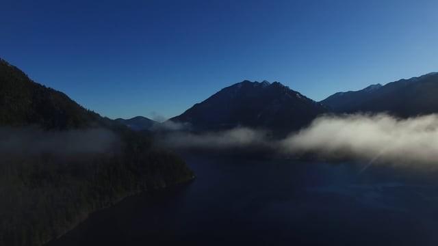 Lake Crescent sunrise in the fog