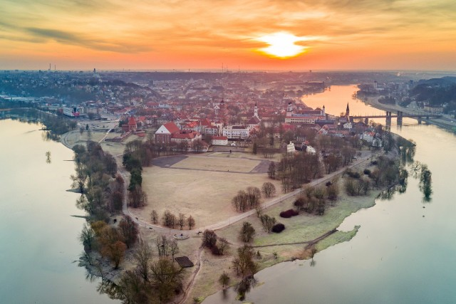 Spring sunrise in Kaunas, Lithuania
