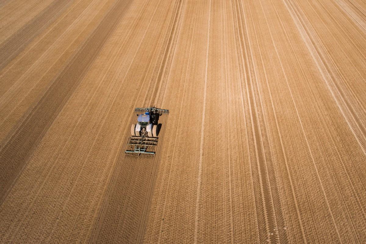 Tracteur dans les champs